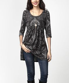 Look at this #zulilyfind! Charcoal Abstract Empire-Waist Tunic Dress #zulilyfinds