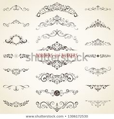 Vector set of ornate calligraphic vintage elements, dividers and page decorations. Photography Names, Creative Photography, Page Decoration, Decorations, Banner, Art Inspo, Design Elements, How To Draw Hands, Royalty Free Stock Photos
