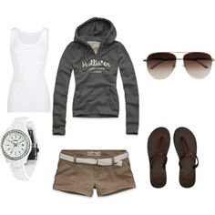 Casual spring outfit:: khaki shorts with belt, white tank, hoodie & sandals