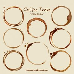 Pack of coffee stains Free Vector