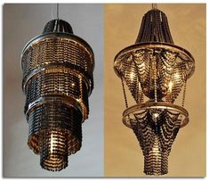 Lamps made of chains and rims from old bicycles