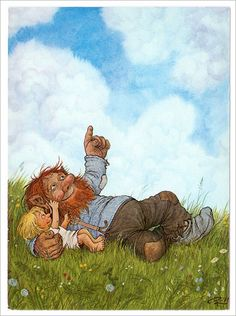 A sweet papa troll looking at clouds with his little one. (Artist: Rolf Lidberg.)