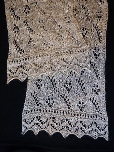 Lily of the Valley Pattern: Lily of the Valley Scarf by Nancy Bush, Knitted Lace of Estonia Yarn: Manos del Uruguay Lace - alpaca, silk, cashmere Colour: 6977 Used: 1x 50g skein Needles: 3.75mm Addi Lace circular needle Mods: Did 10 repeats of central lace pattern