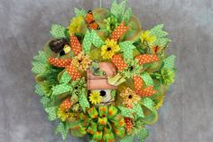 Check out Lime Green Wreath, Orange Wreath, Birdhouse Wreath, Butterflies, Birdhouse, Ribbon Wreath, Door Wreath, Summer Wreath. Outdoor Wreath, Bird on southerncharmflorals