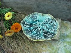 Ceramic Textured Plate in Aqua Blue and Brown by ShadyGrovePottery, $45.00