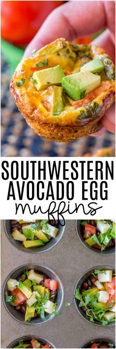 Southwestern Avocado Egg Muffins have all the delicious flavors of a southwestern omelet made in a muffin tin. Southwestern Avocado Egg Muffins have all the delicious flavors of a southwestern omelet made in a muffin tin. Breakfast And Brunch, Avocado Breakfast, Breakfast Dishes, Best Breakfast, Breakfast Ideas, Breakfast Muffins, Healthy Egg Muffins, Omlet Muffins, Breakfast Quotes
