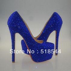 2013 glitter royal blue heels pumps women navy blue high heel shoes prom wedding rhinestone red bottom sole shoe 14 16 cm