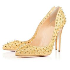Gold Stiletto Pointed Toe Rivets Shoes