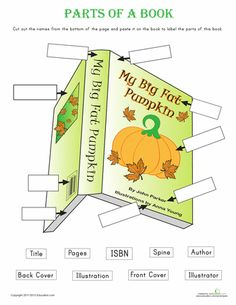 Kindergarten Reading & Writing Worksheets: Parts of a Book School Library Lessons, Library Lesson Plans, Elementary School Library, Library Skills, Library Books, Library Ideas, Kindergarten Library Lessons, Library Science, Library Activities