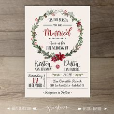 Winter Wedding Invitations  Wreath  'Tis the Season to por greylein