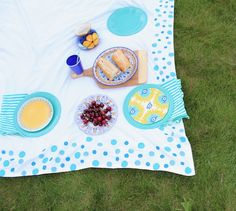 A Spotted Picnic Blanket To Rule Them All - DIY painted picnic blanket