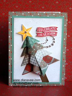 Diana& Place I love the dimension the folded paper tree creates! Origami Christmas Tree Card, Christmas Paper Crafts, Handmade Christmas, Origami Tree, Winter Cards, Holiday Cards, Holiday Gift Guide, Holiday Gifts, Greeting Cards Handmade