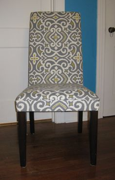 Re-upholstered Parson's chair in grey/citron/ivory print indoor/outdoor fabric