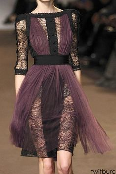 Black lace and sheer purple