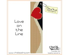 Peyote Beading Pattern Love on the Line by VikisBeadingPatterns, $6.50
