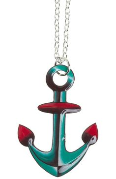 PRETTY IN INK TRADITIONAL TATTOO ANCHOR NECKLACE Pretty in Ink keeps it traditional with this one! This tattoo inspired brilliantly colored anchor hangs at just the right length from a silver chain. $16.00 #prettyinink #necklace #jewelry #anchor #nautical