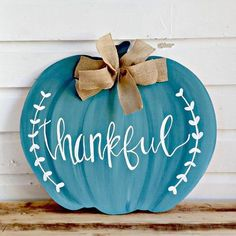 I am in love with blue pumpkins. I remember my thankfulness daily. Just to be alive and see the sun shine is reason to be thankful. This pumpkin can take you through Thanksgiving Fall Crafts, Holiday Crafts, Holiday Fun, Holiday Decor, Wooden Pumpkins, Fall Pumpkins, Wooden Pumpkin Crafts, Thanksgiving Wreaths, Thanksgiving Decorations