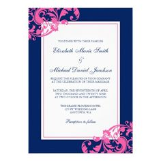 Navy Blue and Pink Flourish Swirls Wedding  #papercrafts