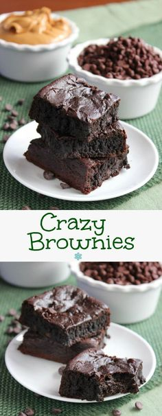 Crazy Brownies bake up rich and chocolaty and taste just like the best fudgy brownies you have ever had. Fun to make with amazing ingredients. ~ http://veganinthefreezer.com