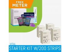 "SureTest's VITAL STARTER KIT starts off with a brand new GLUCOCARD Vital Meter that is everything a blood glucose meter should be – fast, accurate and easy to use. A small 0.5 µL sample size in our GO-based test strip platform gives accurate results in as little as 7 seconds. This meter also has a 250-test memory to help you keep track of your ""Vitals."" This comes with 200 strips."