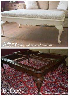 DIY Upholstered Ottoman: make an ottoman from an old coffee table.