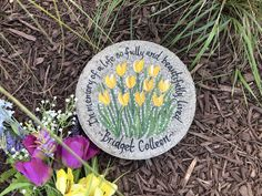 Sympathy Garden Stone with Yellow Tulip - SAM Designs Stepping Stone Pavers, Personalized Garden Stones, Memorial Garden Stones, Tulips Garden, Birth And Death, Yellow Tulips, Irish Blessing, Sympathy Gifts, White Gift Boxes