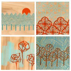 Screen printed Wood Panel set of 4 by www.etsy.com/shop/curiousdoodles $120 USD. Nice works & I love the concept.