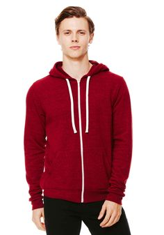 Super comfy hoodie; Active wear and casual clothing, for men. unisex triblend full zip hoodie