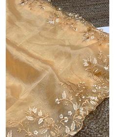 Unique Style Organza Silk Saree with embroidery work & Sattin Blouse -Style Array Silk Sarees, Indian Sarees, Saree Dress, Saree Blouse, Orange Saree, Red Saree, Saree Wedding, Blouses For Women, Embroidery