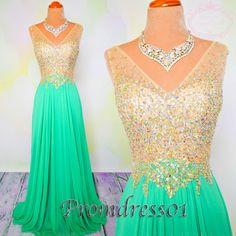 Cute v-neck green chiffon prom dress with beautiful sequins top, ball gown, prom dresses long #coniefox #2016prom