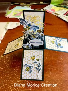 Thank you Diana for this sweet gift! You are so talented! Fancy Fold Cards, Folded Cards, Birthday Greeting Cards, Happy Birthday Cards, Scrapbook Cards, Scrapbooking, Exploding Box Card, Sunflower Cards, Pop Up Box Cards
