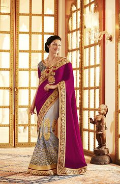 Gray With Pink Embroidery Lehenga Sarees Online ,Veeshack.com | Fashion for the World - 1
