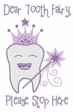 Hopscotch Embroidery Design: Dear Tooth Fairy 3.90 inches H x 2.49 inches W