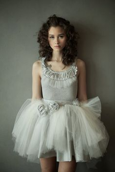 Soft grey tank with tulle and taffeta ruffles by hhfashions