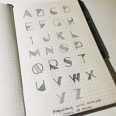 """One-stroke alphabet #100daysoflettering #100daysofletteringbytx #letterpractice #lettering"""