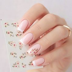 Nail Art Accessories Nail Art Water Decals Transfers Sticker Fashion Beautiful Flower Manicure Tips Classy Nails, Stylish Nails, Cute Nails, Pretty Nails, Gel Nail Designs, Cute Nail Designs, Bride Nails, Manicure Tips, Nail Art Stickers