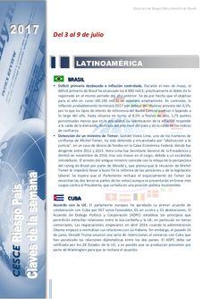 Resumen de las noticias internacionales más destacadas del 3 al 9 de julio de 2017, elaborado por el departamento de Riesgo País de CESCE.