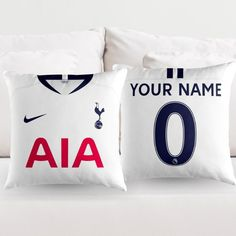 Personalised Tottenham Hotspur Home Jersey Throw Pillow Cushion Cover (Fan inspired product)