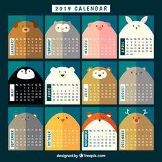 Nice 2019 calendar with animals Free Vec. Yearly Calendar Template, Free Printable Calendar Templates, Calendar Design Template, Calendar 2019 Printable, Calendar Layout, Print Calendar, Kids Calendar, 2019 Calendar, Calendar Ideas