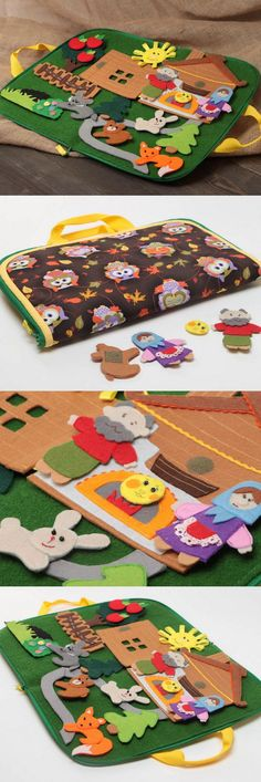 Very nice idea by itself or as a page in a Quiet Book. Sewing For Kids, Diy For Kids, Crafts For Kids, Felt Diy, Felt Crafts, Baby Quiet Book, Quiet Book Patterns, Felt Quiet Books, Handmade Toys