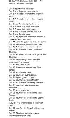 Maze Runner 30 Day Challenge