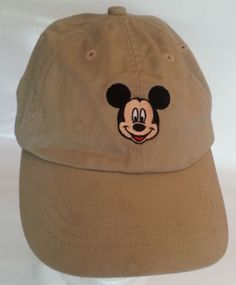 Mickey-Mouse-Face-Disney-Florida-Baseball-Cap-Embroidered-Tan-Adjustable-Hat