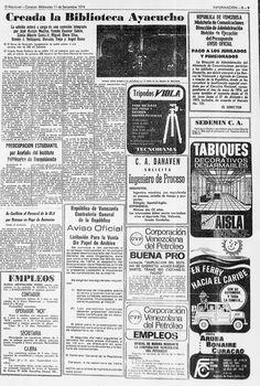 Creada la Biblioteca Ayacucho. Publicado el 11 de septiembre de 1974.