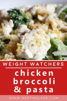 Quick and Easy Weight Watchers Chicken Broccoli and Pasta Recipe. A family friendly Comfort Food Dinner with boneless skinless chicken breast, spaghetti, onion, condensed cream of chicken soup, milk, cream cheese, and Parmesan cheese. 280 calories. A great weeknight meal for pasta lovers. MyWW Points: 8 Green Plan, 8 Smart Points Weight Watcher Dinners, Weight Watchers Chicken, Pasta Recipes, Chicken Recipes, Chicken Broccoli Pasta, Cream Of Chicken Soup, Weeknight Meals, Healthy Dinner Recipes, Parmesan