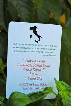 Anniversary Italian dinner invite