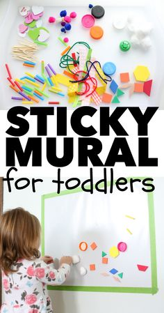 Sticky Mural for Toddlers - I Can Teach My Child! Sticky Mural for Toddlers: A super simple indoor activity for toddlers and a great way to use random craft supplies! Should you absolutely love arts and crafts you really will love this cool info! Sensory Activities, Craft Activities For Kids, Infant Activities, Preschool Activities, Indoor Toddler Activities, Toddler Activities For Daycare, Art Projects For Toddlers, Activities For 4 Year Olds, Indoor Games For Toddlers