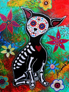 Penny auction, Chihuahua Day of the Dead Painting Original