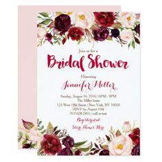 #bridal #shower #invitations - #Red Floral Marsala Fall Bridal Shower Card