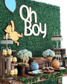 Winnie the Pooh Candy Dessert Table by @bizziebeecreations and wood cuts by @wolfelaserengraving side props by @platinumproprentals…