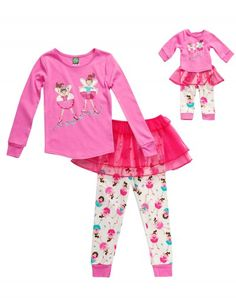 Ballerina Fairies - Three-Piece Snug Fit Pajama and Tutu Set with Matching Outfit for 18 inch Play Doll